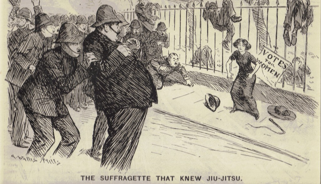 old cartoon of the suffragette who knew jujitsu