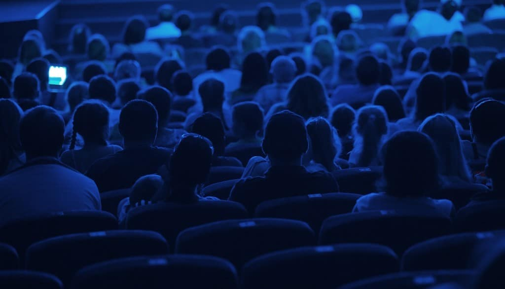 a picture of people in a cinema